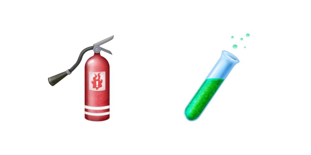 Brandblusser en reageerbuisje emoji.
