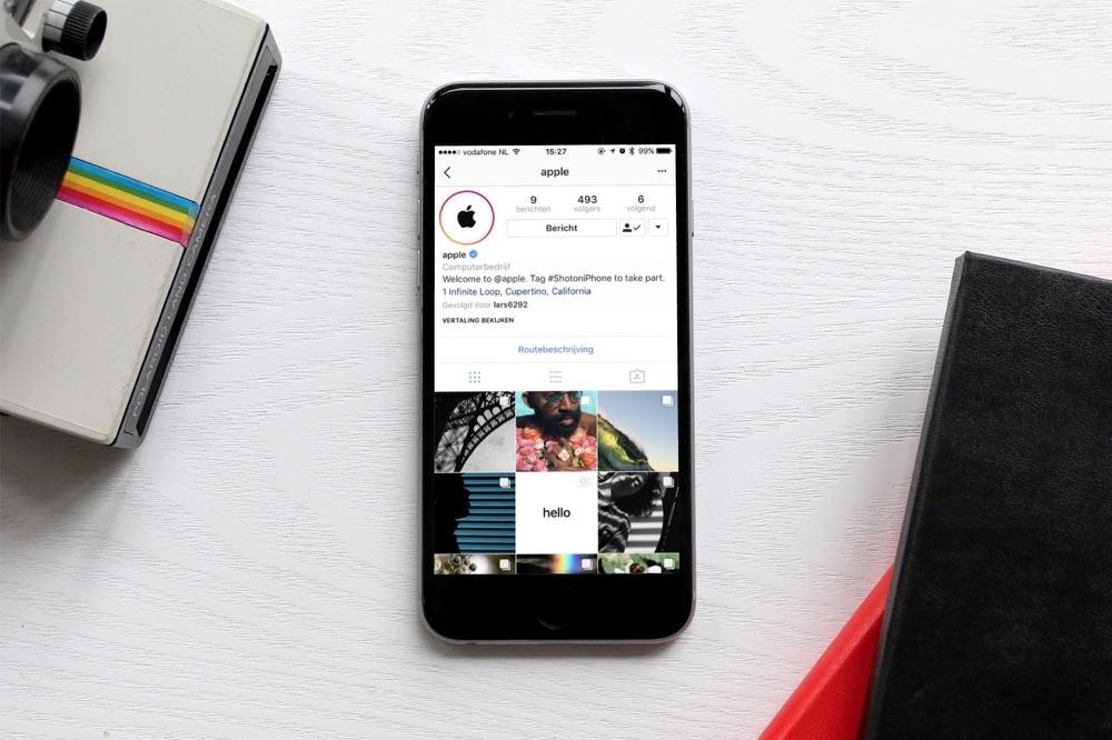 Apple op Instagram op de iPhone.