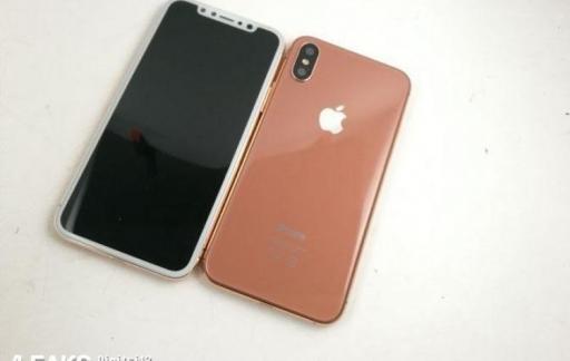 Voor- en achterkant van iPhone 8 in koper.