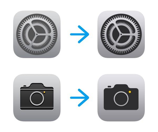 Instellingen- en Camera-icoontje in iOS 11 beta 5.