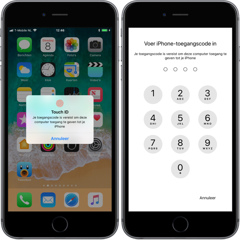 Toegang tot iPhone vanaf verbonden computer in iOS 11 beta 5.