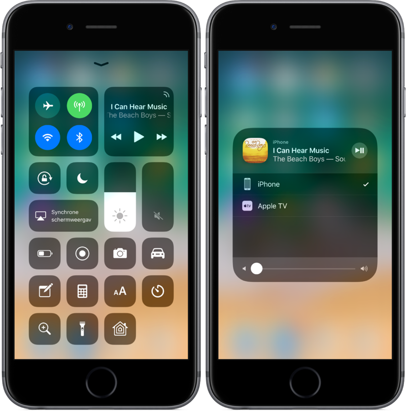 Bedieningspaneel in iOS 11 beta 5.