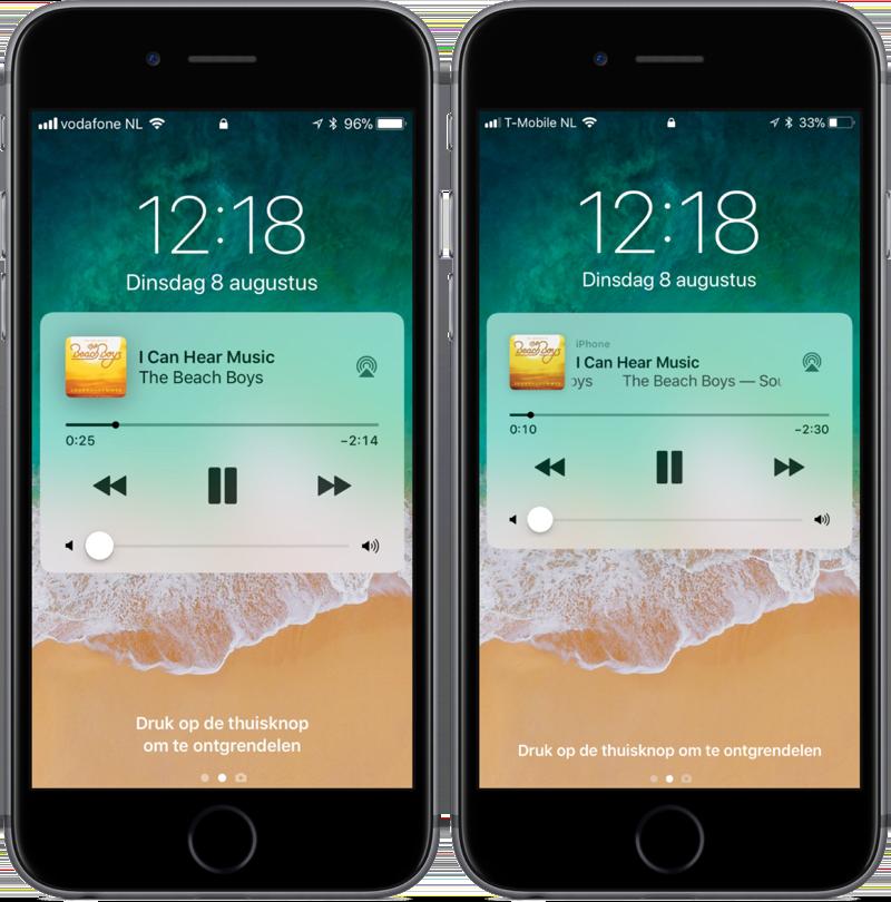 Muziekbediening vanaf toegangsscherm in iOS 11 beta 5.