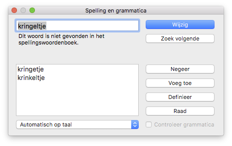 Spelling- en grammaticacontrole in macOS