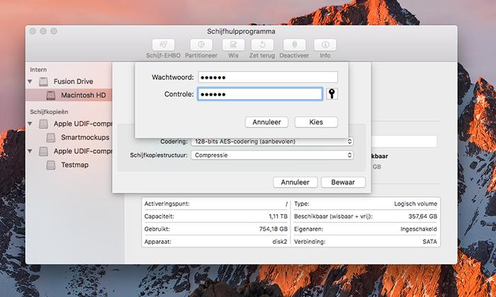 macOS mappen: wachtwoord instellen