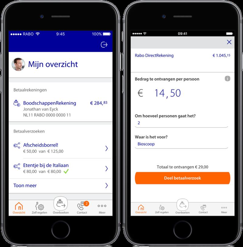 Rabobank-app met knoppenbalk en betaalverzoek.
