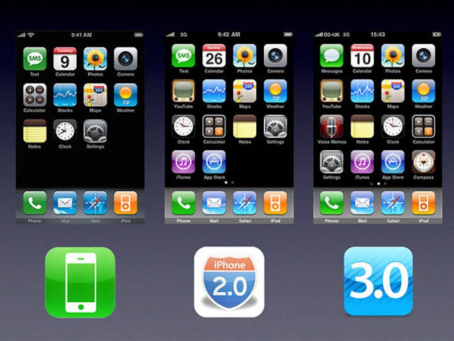 Verschillen iPhone OS 1, 2 en 3