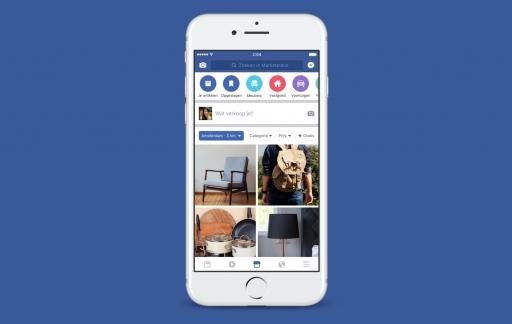 Facebook Marketplace op de iPhone.