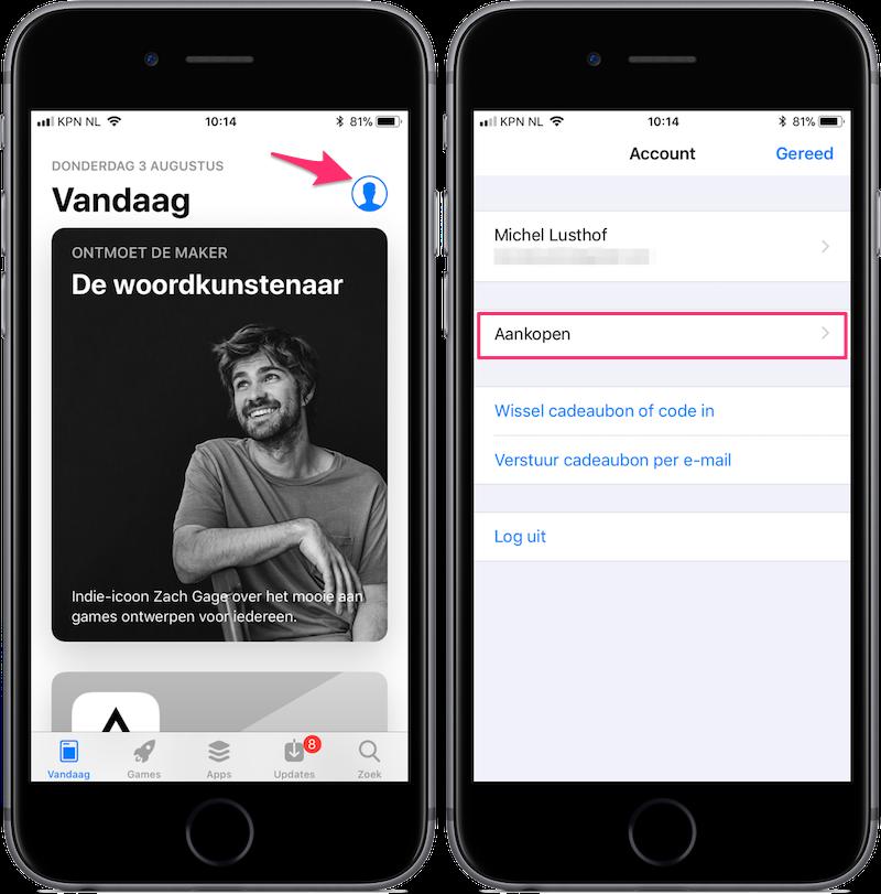 Gekochte apps in App Store in iOS 11