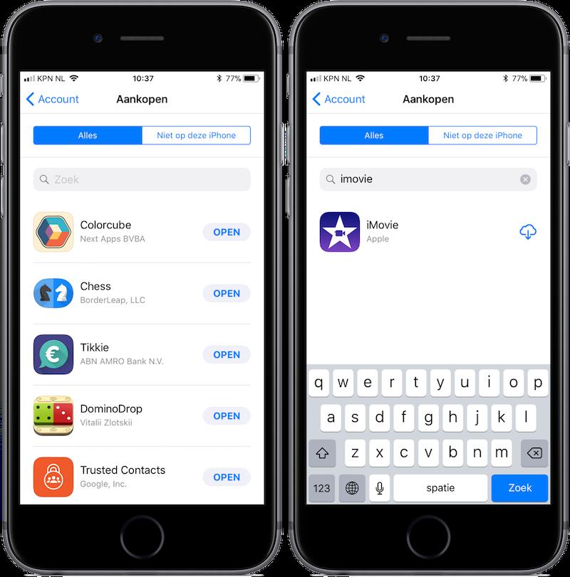 Gekochte apps opnieuw downloaden in iOS 11