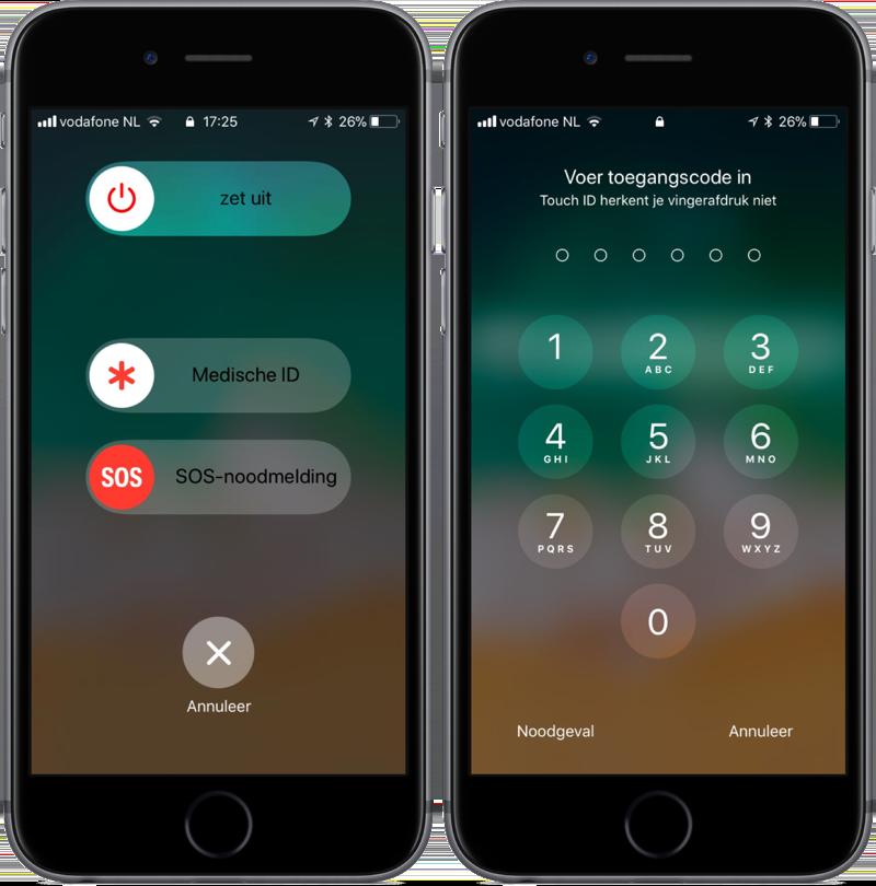 Touch ID uitschakelen met SOS-noodmelding in iOS 11.