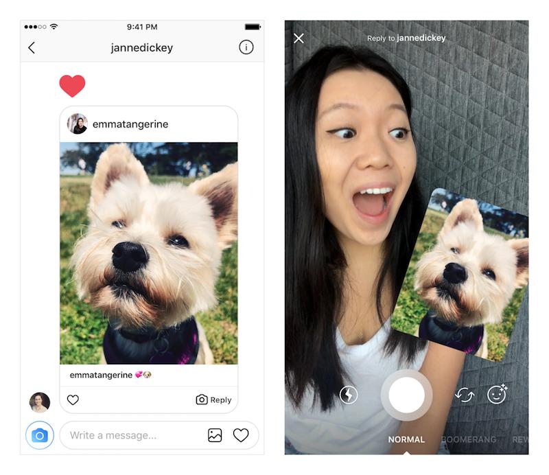 Foto- en video-opmerkingen in Instagram bevatten sticker van origineel bericht