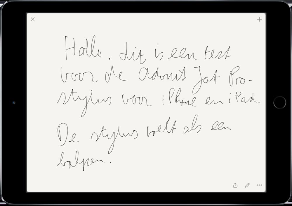 Adonit Jot Pro stylus om mee te schrijven.
