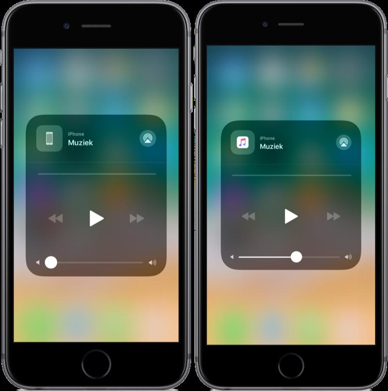 iOS 11 met Bedieningspaneel en icoontje voor muziek.