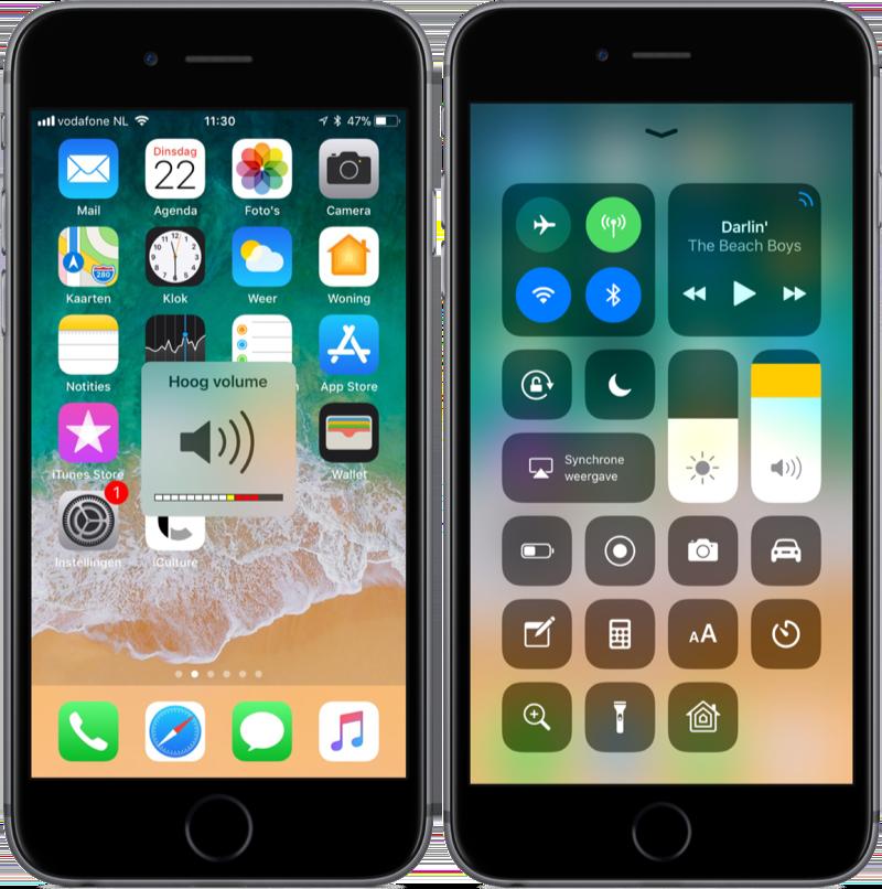Bedieningspaneel in iOS 11 met hoog volume.