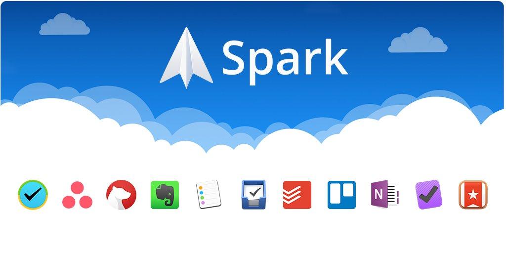 Spark op Mac met integratie met third-party diensten.
