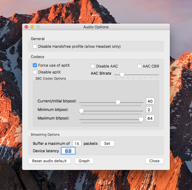 Bluetooth Explorer aptX gedwongen op Mac