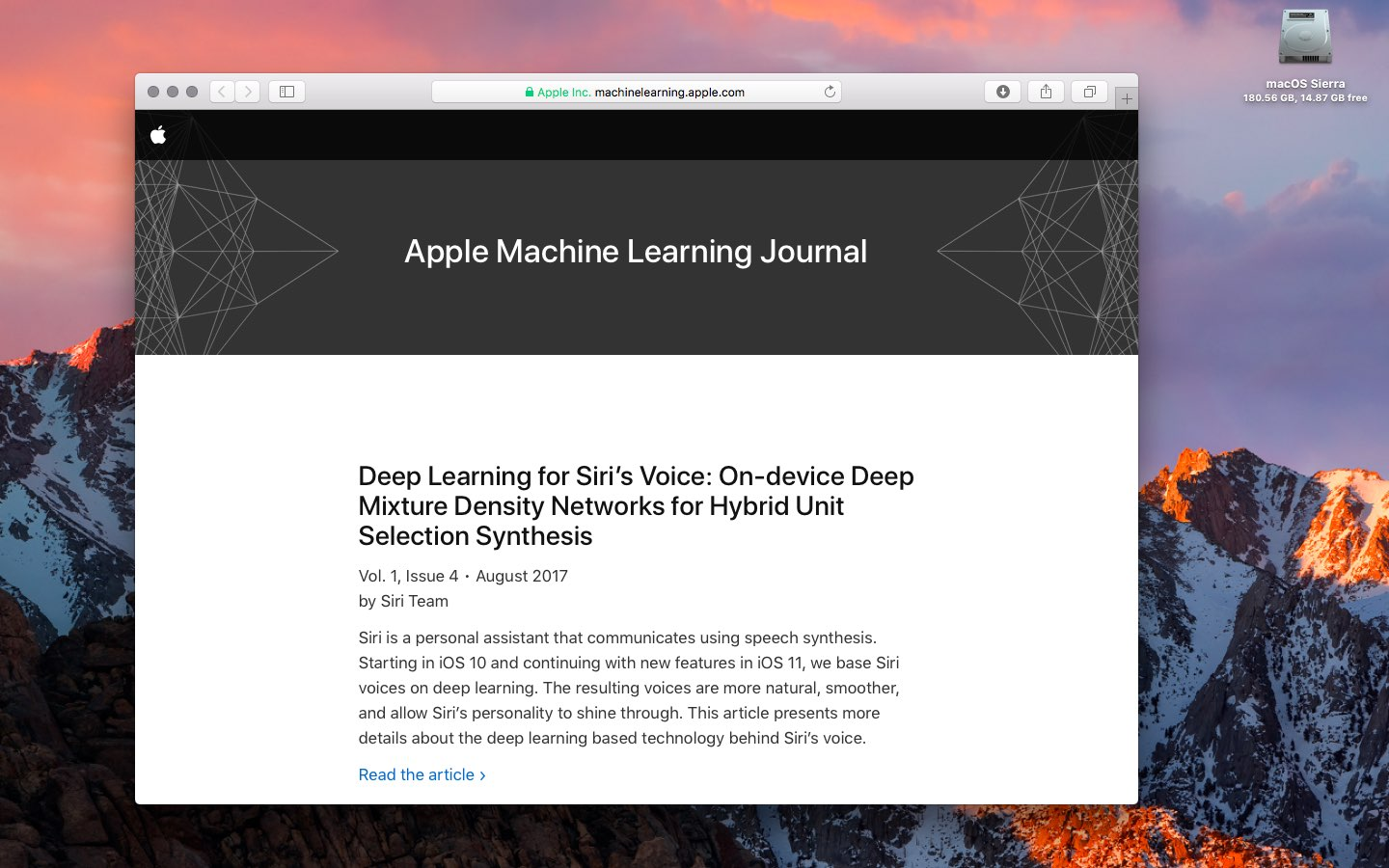 Apple Machine Learning Journal met Siri-onderzoek