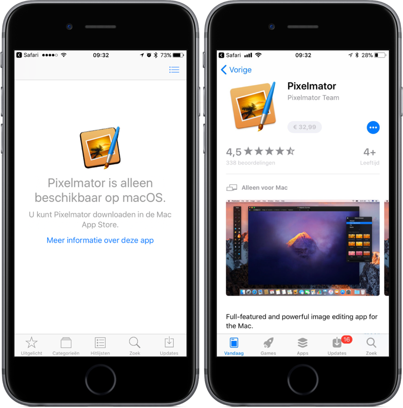 Mac App Store-app in de iOS App Store in iOS 11.