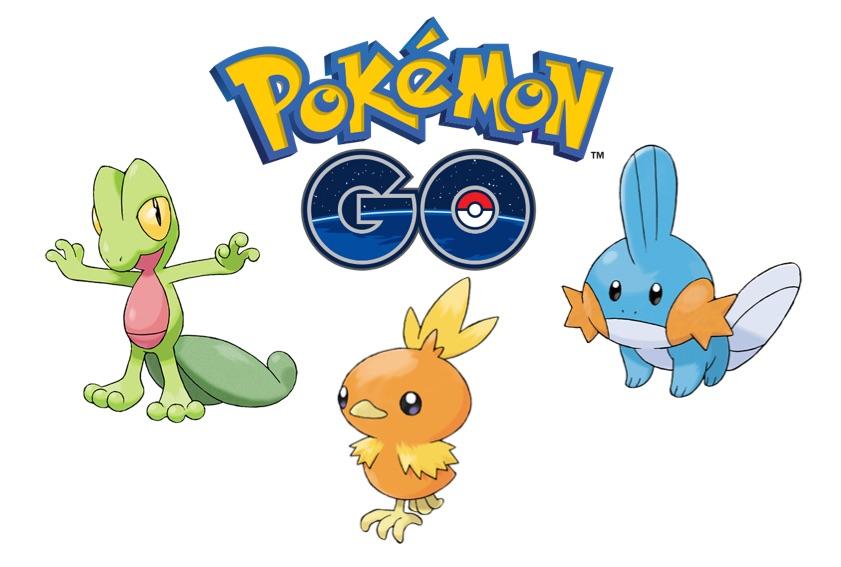 Derde generatie starters in Pokémon Go.