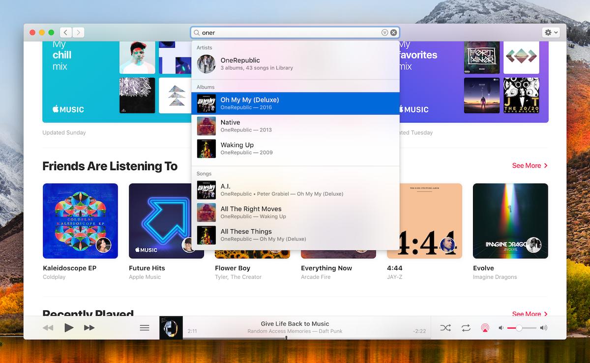 Zoekfunctie in nieuwe Muziek-app in macOS [concept]
