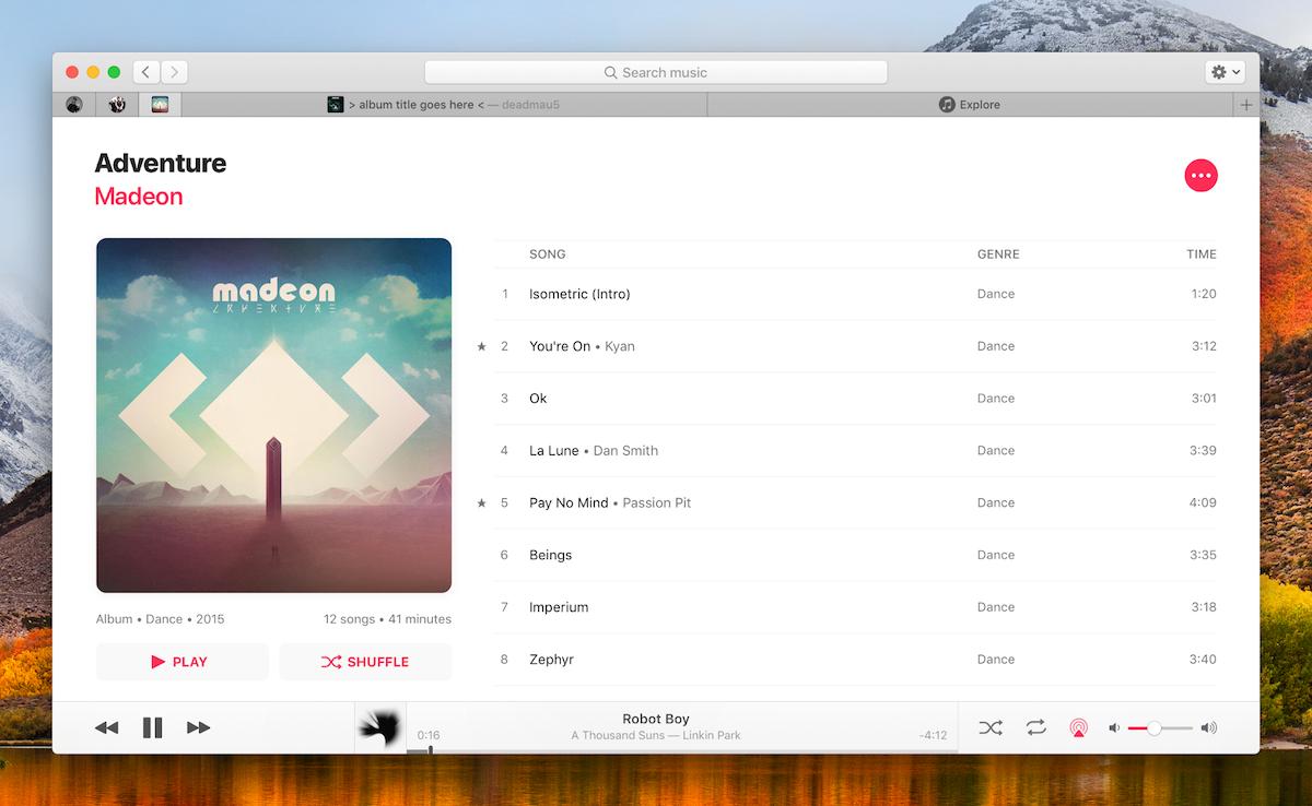 Concept: Muziek-app voor macOS - albumpagina en tabbladen