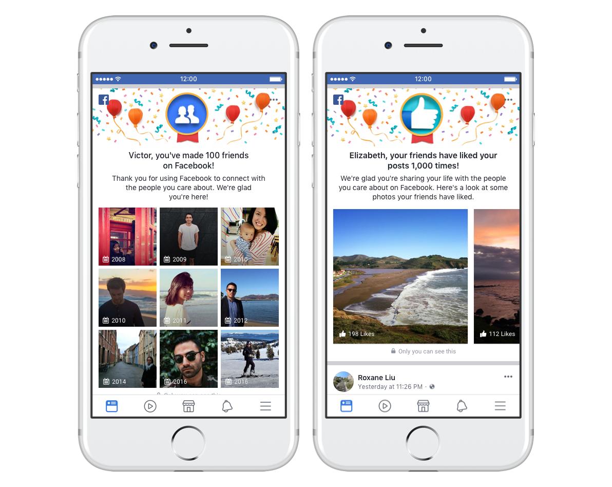Facebook mijlpalen met vrienden.