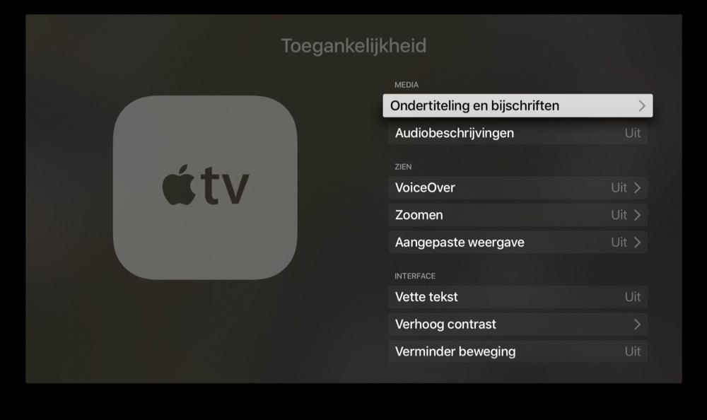Ondertiteling en bijschriften aanpassen op Apple TV.