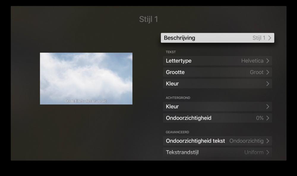 Stijl van ondertiteling aanpassen op Apple TV.