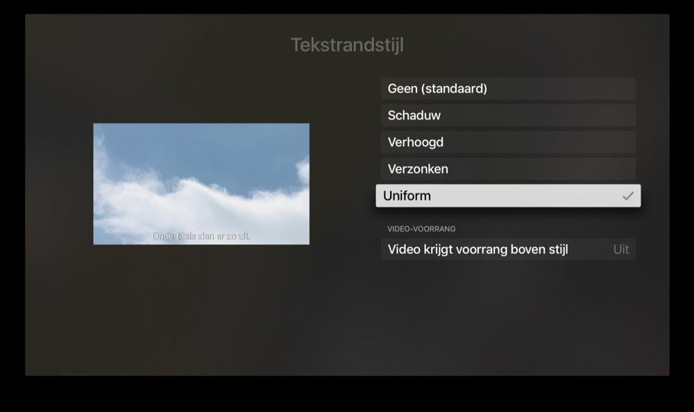 Tekstrand van ondertiteling op Apple TV aanpassen.