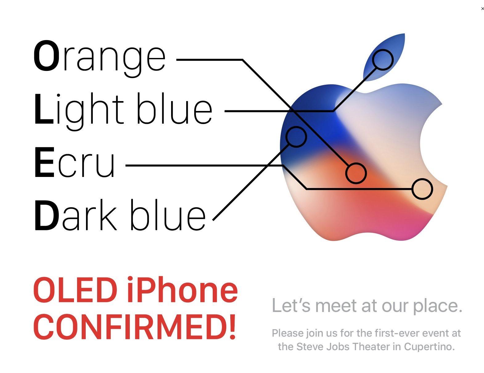 OLED-hint op iPhone 8-uitnodiging.