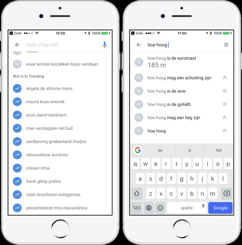 Google Zoeken trending zoekopdrachten