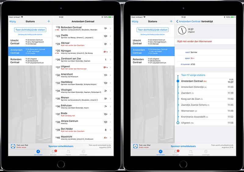 Trein 2 voor iPad: vertrektijden