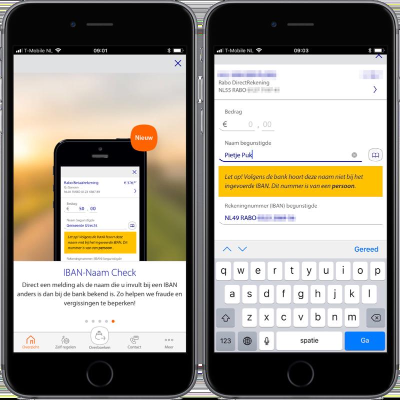 IBAN-Naam Check in de Rabo Bankieren-app.