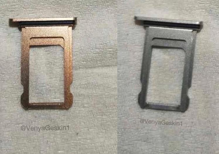iPhone X/8 simkaart-tray in koperen kleur.