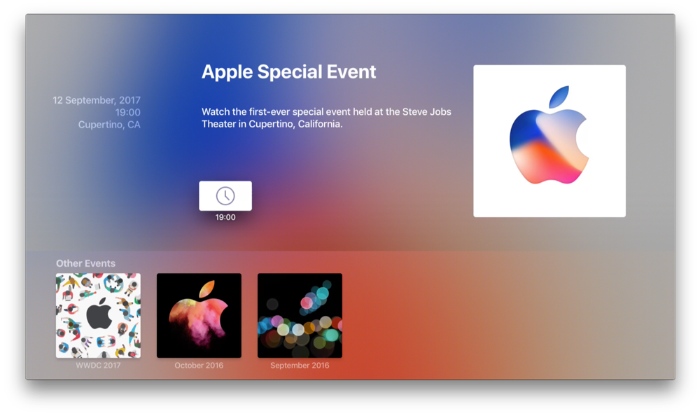 Apple Special Event op Apple TV in september 2017.