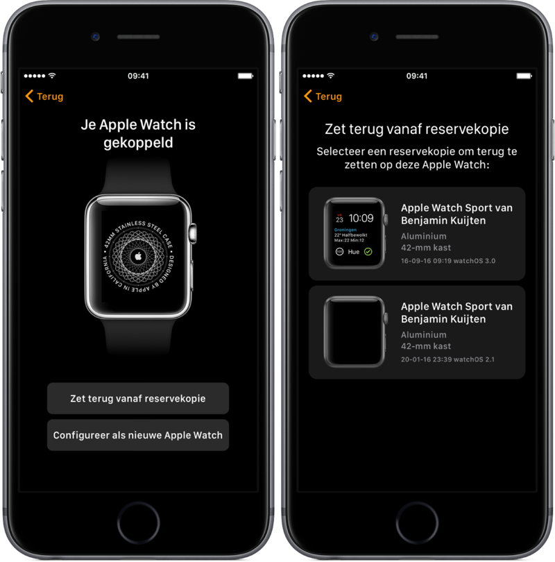 Apple Watch koppelen en bakcup terugzetten.