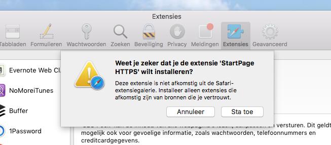 Startpage-extensie installeren