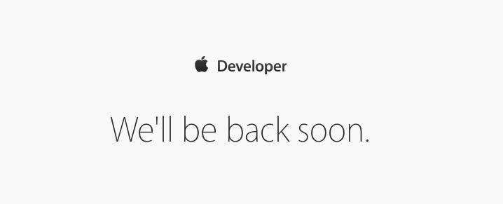 Apple Developer Center offline