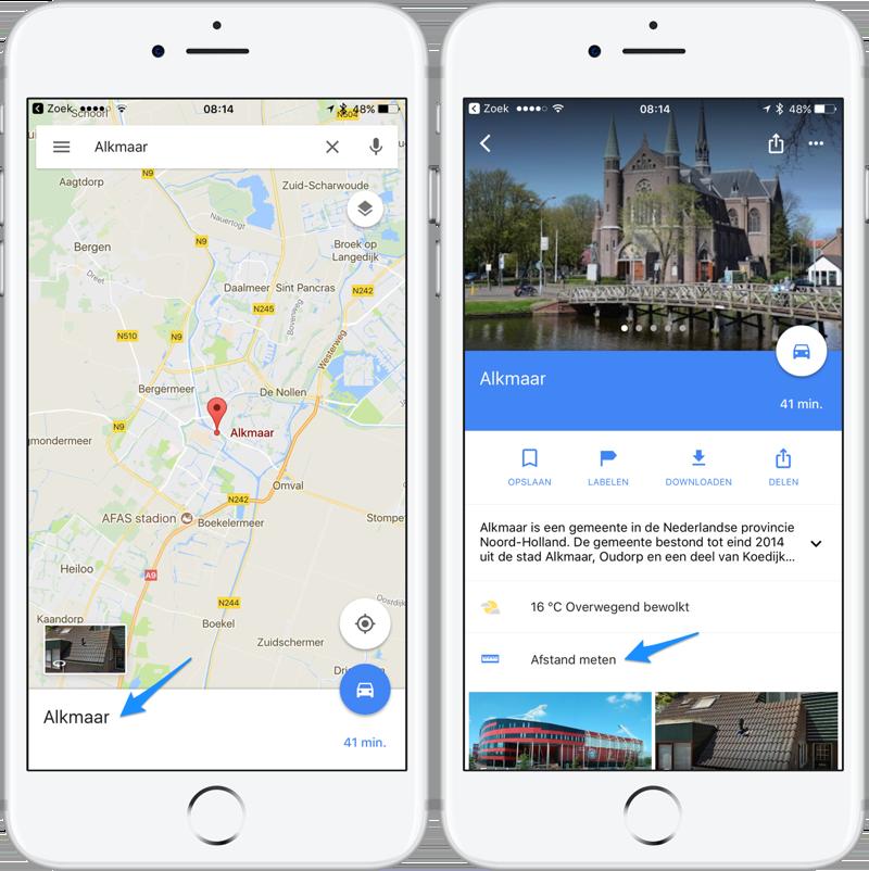Google Maps hemelsbrede afstand meten