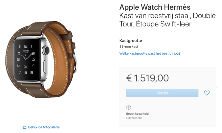 Apple Watch Hermès in de online Apple Store uitverkocht.