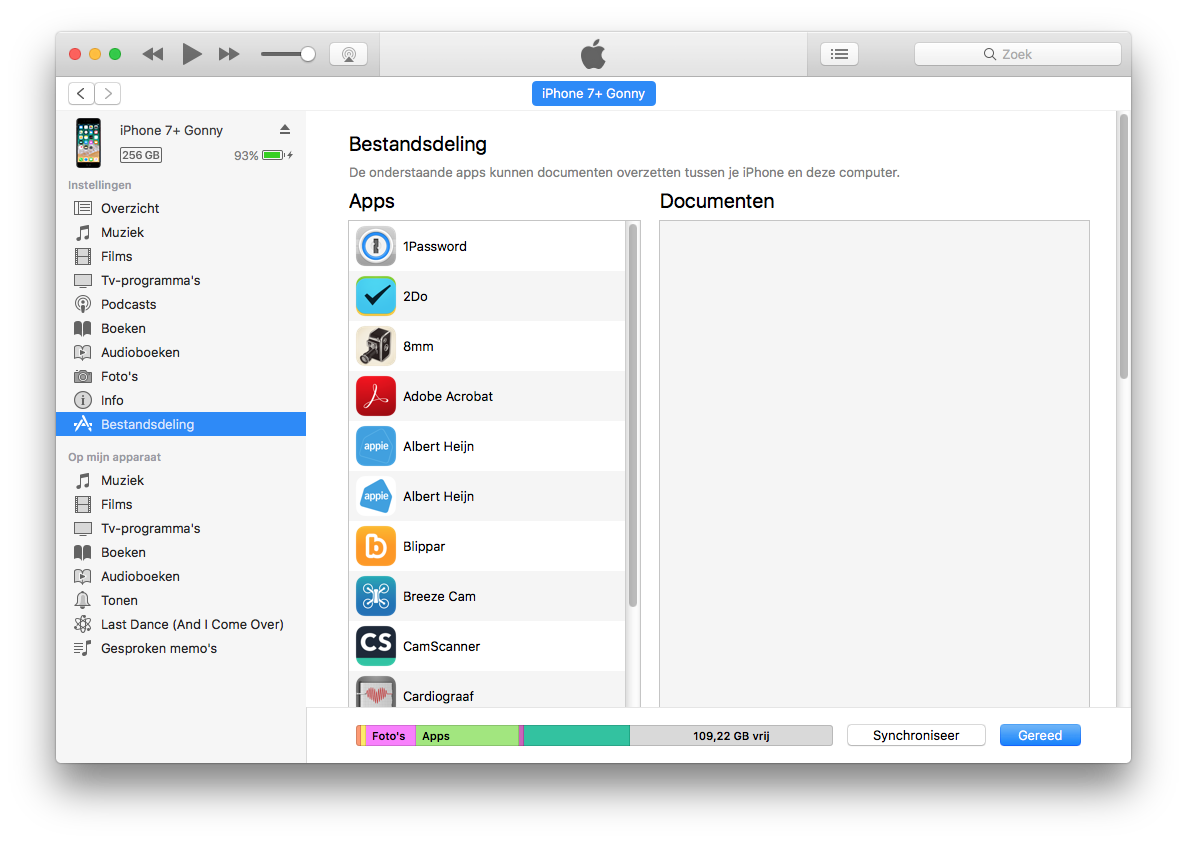 iTunes-bestandsdeling nieuw