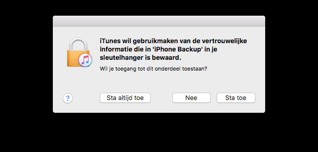 iTunes versleutelde backups
