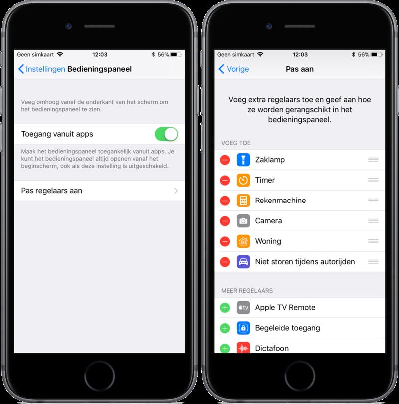 Bedieningspaneel in iOS 11 aanpassen.