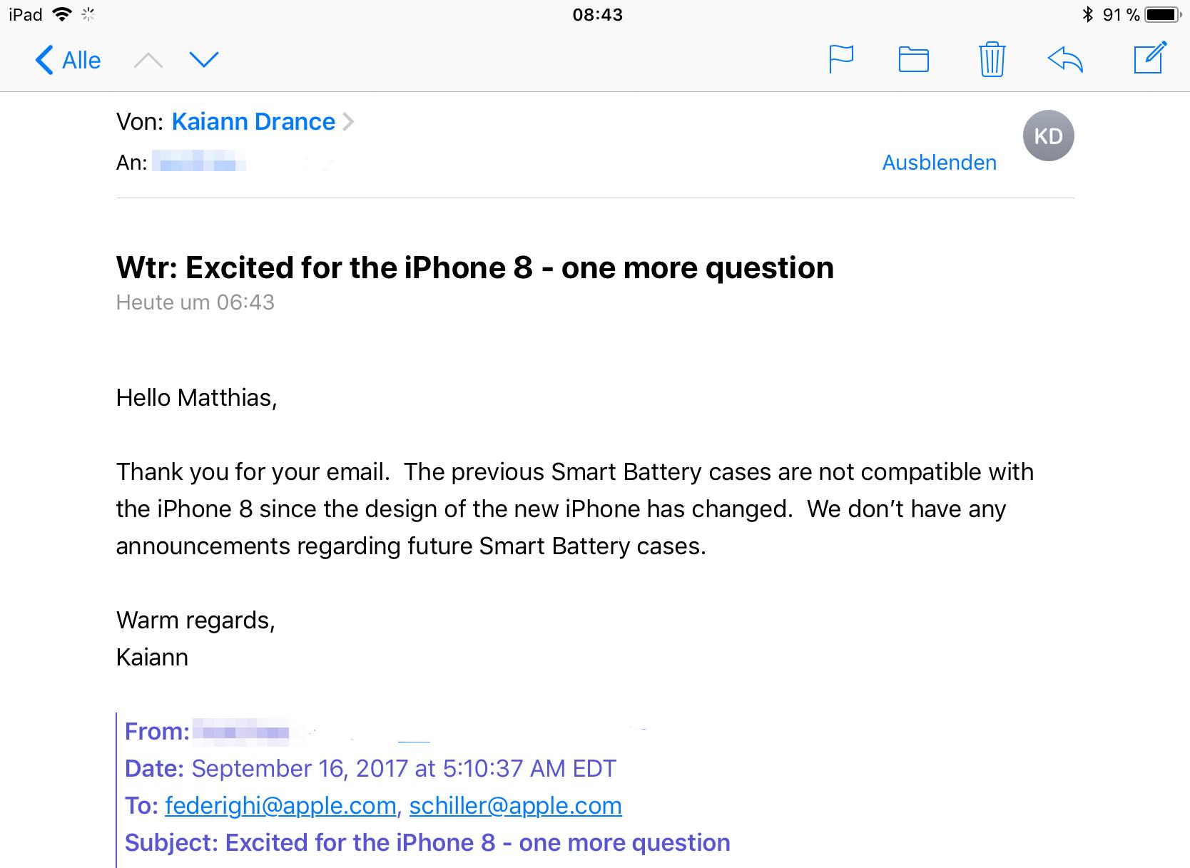 Smart Battery Case werkt niet op iPhone 8.
