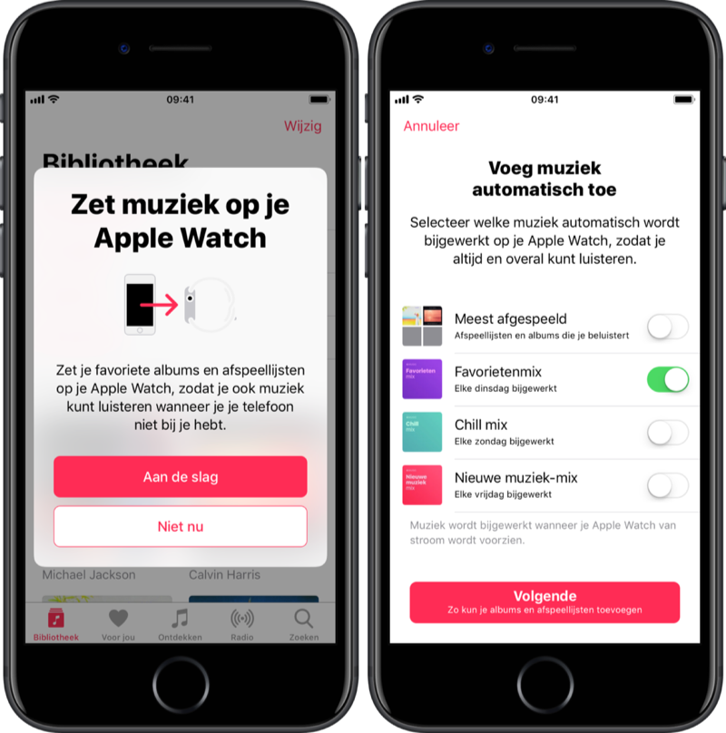 Muziek synchroniseren via je Apple Watch.