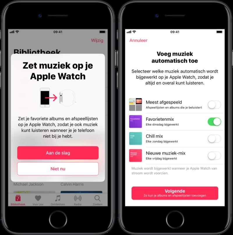 Muziek synchroniseren via je Apple Watch.