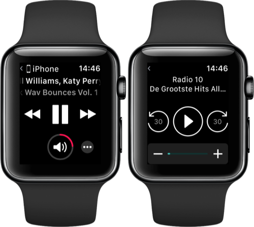 Muziek-bediening op de Apple Watch.