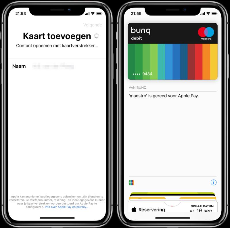 Apple Pay met bunq instellen.