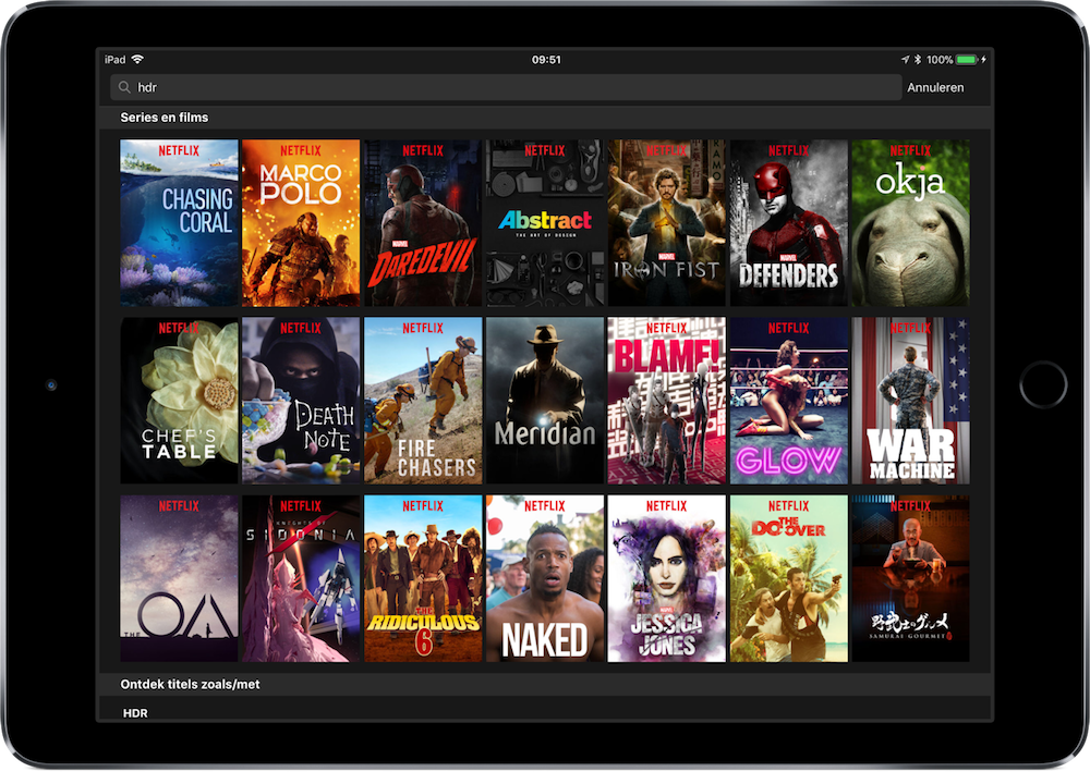 Netflix-app ondersteunt HDR-films en -series